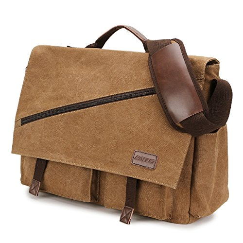 Canvas Messenger Bag,15.6 Inch Mens Satchel Water Resistant Briefcases Vintage Shoulder Bag for College Business RAVUO