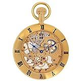 Regent Hills Vintage Brass Case Open Face Mechanical Skeleton Pocket Watch With Chain 6444GP