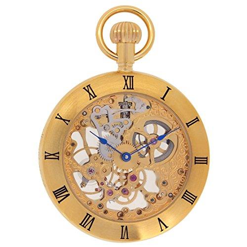 Regent Hills Vintage Brass Case Open Face Mechanical Skeleton Pocket Watch With Chain 6444GP ()