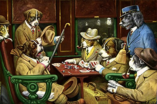 Sports Dogs Playing Poker Cards Game Casino By Artist Cassius Marcellus Coolidge Vintage Poster Repro 16