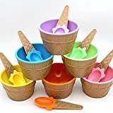 Malloom Kids Plastic Cute Ice Cream Dessert Bowls and Spoons (Set of 6)