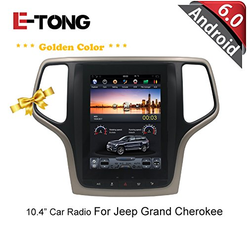 10.4 inch Golden frame Vertical Screen Android 6.0 Car gps player for Jeep Grand Cherokee 2014-2016 Support bluetooth,easy link (Jeep Grand Radio Screen Cherokee)