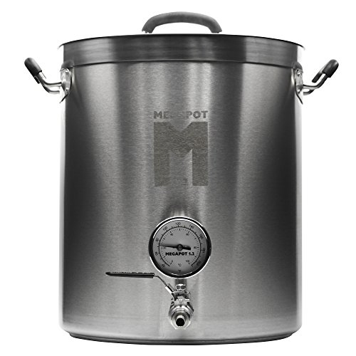 Northern Brewer - Megapot 1.2 Homebrew Stainless Steel Brew Kettle Stock Pot For Beer Brewing (Kettle with a Valve and Thermometer, 8 Gallon/32 Quarts)