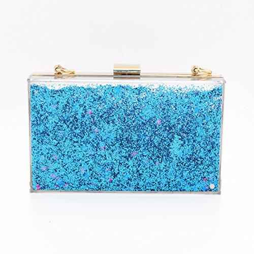 Soirée Liquide Blue Demoiselle Clutch De Sac Sacs Sacs Womens D'honneur Acrylique Transparent pFSPTvx