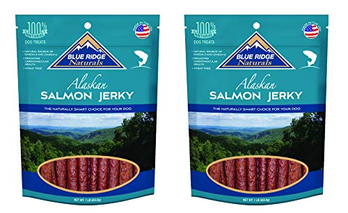 Blue Ridge Naturals Alaskan Salmon Jerky Dog Treats, 1lb (Pack of 2) - Alaskan Salmon Treats