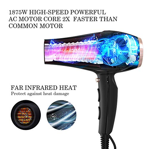 Hair Dryer ABODY 1875W Negative ions Professional Ionic Blow Dryer Powerful with Concentrators Diffuser for Home and Salon Styling 2 Speed 3 Heat Settings – Black