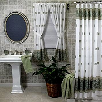Amazoncom Home Fashions Jade Green Shower And Window Curtain Set