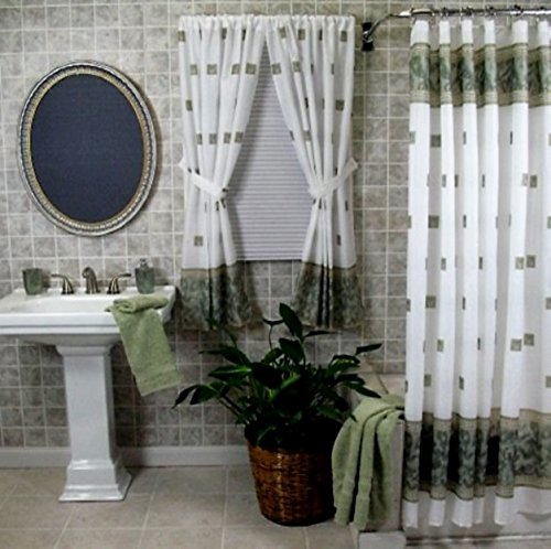 Home Fashions Jade Green Shower and Window Curtain Set