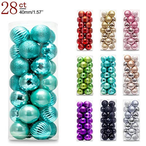 AMS 40mm/28ct Christmas Ball Mini Plating Ornaments Tree Collection for Holiday Parties Decoration (1.57, Turquoise)