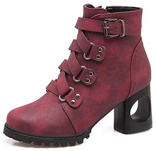 Idifu Womens Stylish Buckle Mid Chunky Heels Martin Boots Zip Laterale Breve Caviglia Boote Rosso Vino