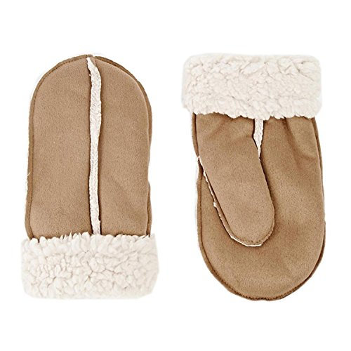 Outdoor Windproof Warmful Thicken Suede Winter Lamb Wool Leather Gloves (Khaki) by MENG SHENG