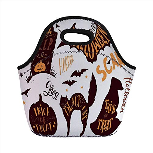 Portable Lunch Bag,Vintage Halloween,Halloween Symbols Trick or Treat Bat Tombstone Ghost Candy Scary Decorative,Dark Brown Orange,for Kids Adult Thermal Insulated Tote Bags ()