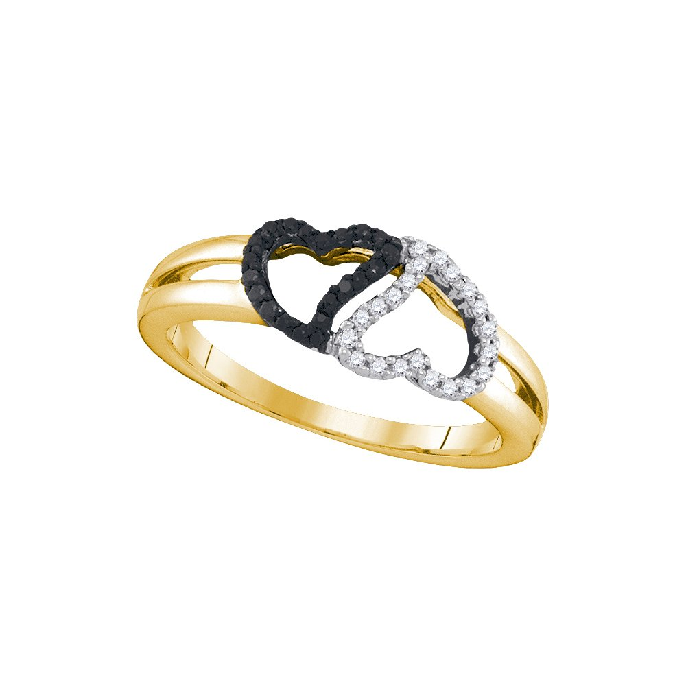 10kt Yellow Gold Womens Round Black Colored Diamond Heart Love Ring 1/6 Cttw (I2-I3 clarity; Black color)