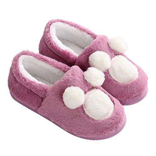 Cybling Vrouwen Leuke Cartoon Ontwerp Gezellige Warme Huis Slippers Antislip Indoor Outdoor Schoenen Paars