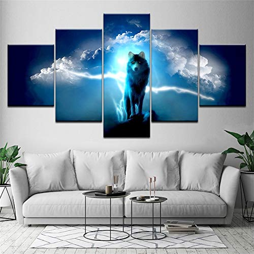ZPPLD Prints Art Picture,Piece Canvases Print Cloud and Wolf Art HD Custom Modern Inkjet On Canvas Wall Art for Home Decorations Wall Decor,NoFramed,Size3