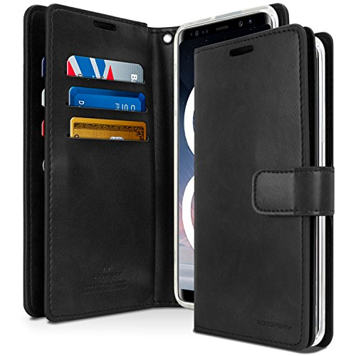 - Galaxy Note 8 Case, [Extra Card & Cash Slots] GOOSPERY Mansoor Diary [Double Sided Wallet Case] Soft PU Leather Texture TPU Casing [Drop Protection] Cover for Samsung Galaxy Note8, (Black) NT8-MAN-BLK