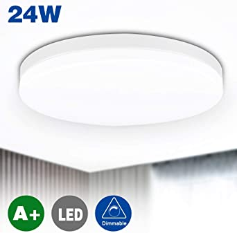 24W Modern Dimmable LED Ceiling Bathroom Lights (Silver) Waterproof Ultra Thin Flush Mount Bathroom Ceiling Lighting with Remote Control for Bedroom