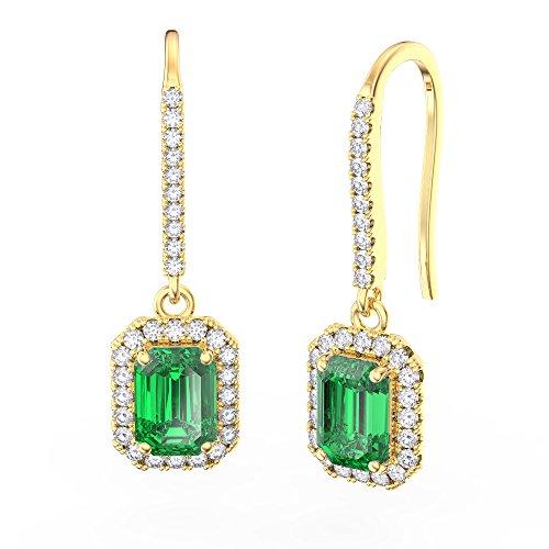 Princesse Coupe émeraude et boucles d'oreilles argent sterling diamant (or jaune)