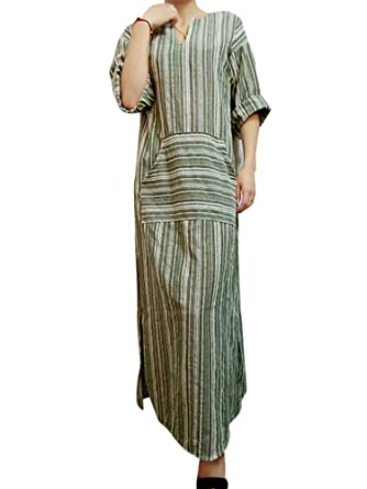 7bf6b0e528 Celmia Women Striped Casual Loose Kaftan Dress V Neck 3/4 Sleeve Split Long  Dresses