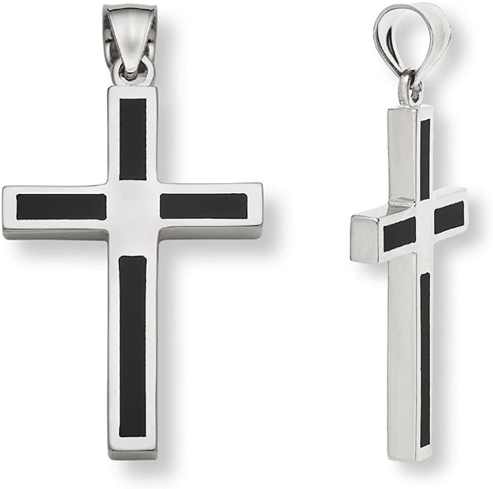 Men's Genuine Black Onyx Cross Pendant Necklace in .925 Sterling Silver