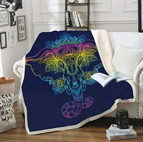 200Cm Sof/á Coj/ín Yoga Mat Manta El aire acondicionado est/á engrosado de doble capa Manta impresa en 3D Digital Elephant Series 150