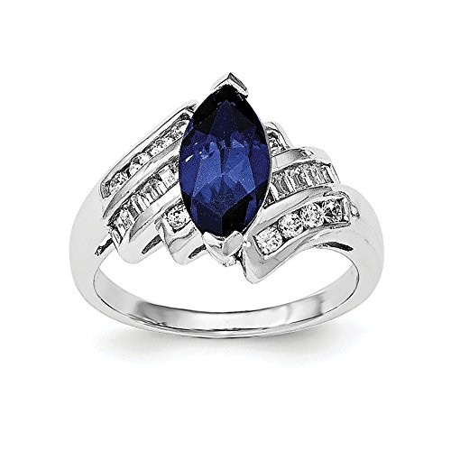 Sterling Silver Synthetic Blue Sapphire and Cubic Zirconia Marquise Ring - Size 6 ()
