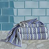 HomeCrate Waffle 100% Cotton 6 Piece Towel Set - Ocean - Hotel Quality, Super Soft and Highly Absorbent