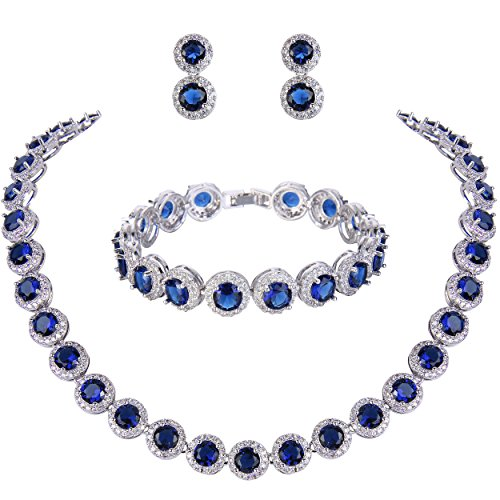 EVER FAITH Silver-Tone Round Cut Cubic Zirconia Tennis Necklace Bracelet Earrings Set Sapphire Color