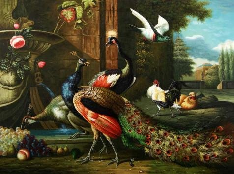 Perfect Effect Canvas ,the Imitations Art DecorativeCanvas Prints Of Oil Painting 'Peacock, Poultry And Fruits', 8x11 Inch / 20x27 Cm Is Best For Study Decoration And Home Decoration And Gifts