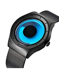 Watch, Mens Watches Stainless Steel Fashion Cool Unique Style Mesh Band Aurora Dress Wrist Watch Black and Blue