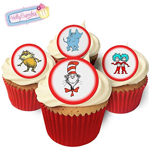 24 Edible Pre-Cut Wafer Round Cake Toppers: 12 designs inspired by 'Dr - Cake Seuss Dr