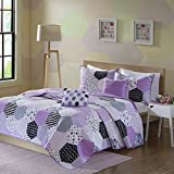 Urban Habitat Kids Trixie Full/Queen Bedding For Girls Quilt Set - Purple, Geometric – 5 Piece Kids Girls Quilts – Cotton Quilt Sets Coverlet