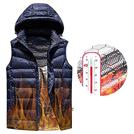 AUTRUN Man es Upgrade Electric Heated Weste Leichtgewicht USB-Rechagable Heizung Warm Waistcoat Down Gilet Winter Smart Fever Men  s Down Weste