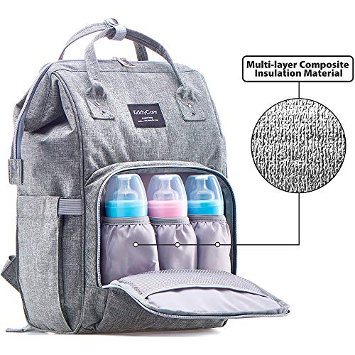 KiddyCare Diaper Bag Backpack – Multi-Function Baby Bag, Maternity Nappy Bags for Travel, Large Capacity, Waterproof, Durable & Stylish for Woman and Men, Dark Gray