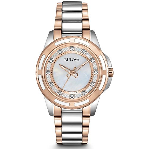 Bulova Women's 98P134 Diamond Dial (Ladies Diamond White Mop Dial)