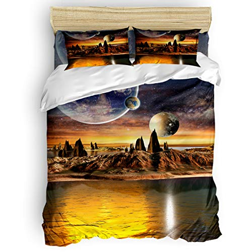 Laibao Home 4 Piece Bedding Set for Children/Adults/Kids/Teen, Soft Bed Sheets, Duvet Cover, Flat Sheet, Pillow Covers, Earth Planet Printing Bedding Sets Queen Size