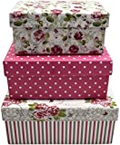 Alef Elegant Decorative Themed Nesting Gift Boxes -3 Boxes- Nesting Boxes Beautifully Themed and Decorated - Perfect for Gifts or Simple Decoration Around the House! (Small Pink Roses)