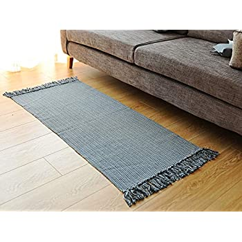 adbae54aff Ojia Cotton Reversible Rag Rug Hand Woven Single Color Chindi Area Rug  Entryway for Laundry Room Kitchen Bathroom Bedroom Dorm (2 x 4 ft,Dark Grey)