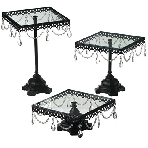 Set of 3 Fancy Jeweled Black Square Cake Plates / Stands (Cake Stand Jeweled)