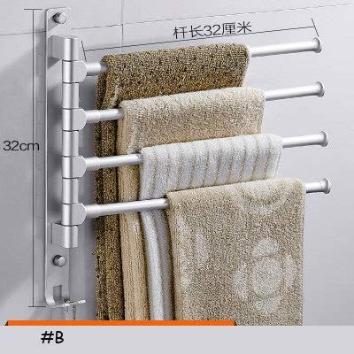 Bathroom Shelves - Space Aluminum Bathroom Towel Rack Free Punching Rotating Bar Suction Wall Hanging Activity Toilet - Basket Wood Toilet Suction Brown In Sink Of Accessories Clear by Number onE (Image #5)