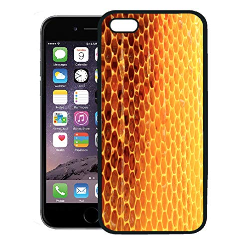 Semtomn Phone Case for iPhone 8 Plus case,Hexagon Wax Honeycomb from Bee Hive Filled Golden Honey Macro Photography Consisting of Beeswax Yellow iPhone 7 Plus case Cover,Black