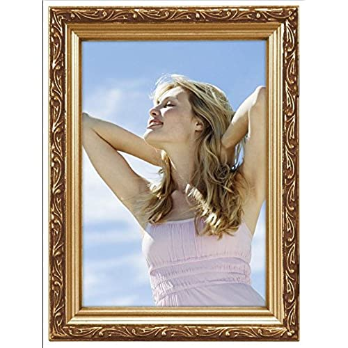 malden international designs traditions molding wooden picture frame 4x6 gold - Wooden Photo Frames