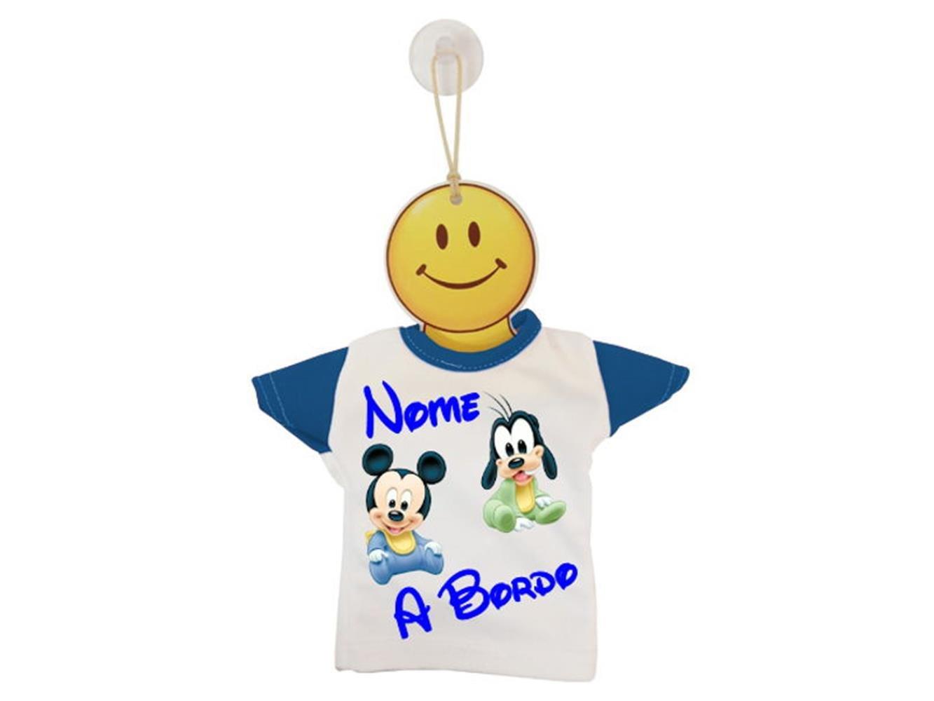 MINI T-SHIRT BIMBO A BORDO BICOLORE TOPOLINO E PLUTO-Nero / Bianco ATELIER DEL RICAMO