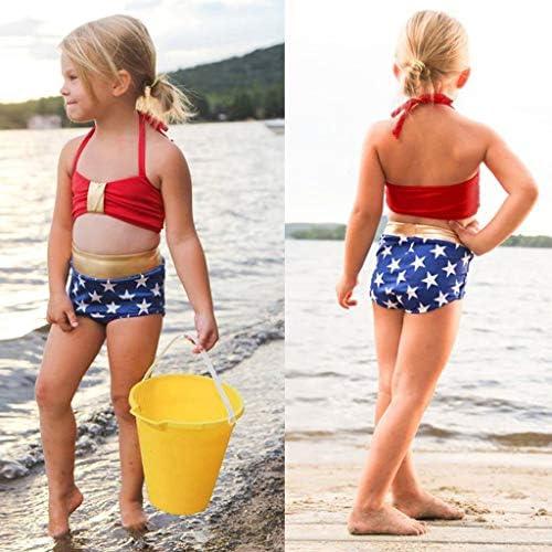 Renlinwell Baby Girls Swimsuit Two Piece Swimwear Ruffle Striped Bowknot Beach Bathing Suit