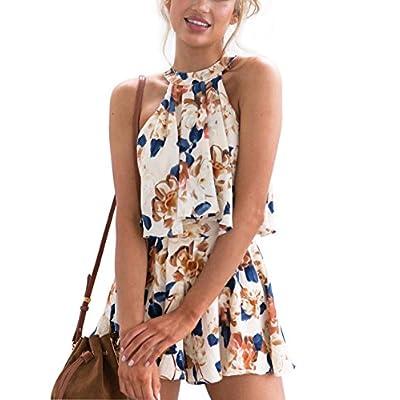 Wholesale YAMISR Women Floral Print Halter Sleeveless Strapless Summer Beach Jumpsuit Rompers Playsuit