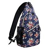 MOSISO Sling Backpack, Polyester Crossbody Shoulder Bag for Men Women Girls Boys, Navy Blue Base Floral
