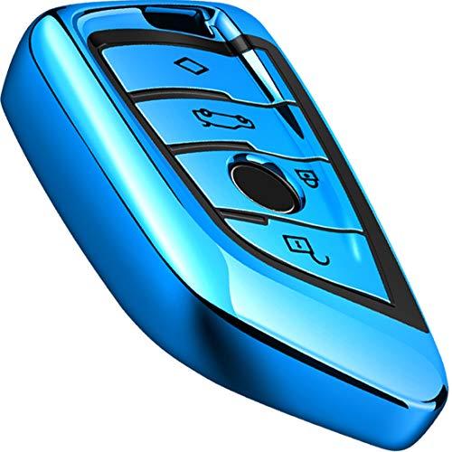 Intermerge for BMW Key Fob Cover,Blade Shape Soft TPU Key Case Shell Pouch for BMW New BMW X1 X3 X5 X6,BMW Series 1 2 5 7 Keyless Entry BMW Key Cover_Blue