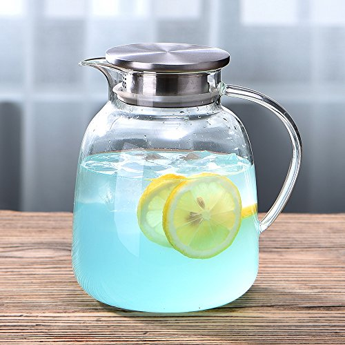 WarmCrystal, Large Glass Cold Teakettle, Pitcher and Carafe for Tea, Coffee, Lemonade and Ice Teapot (64 oz) by WarmCrystal (Image #1)