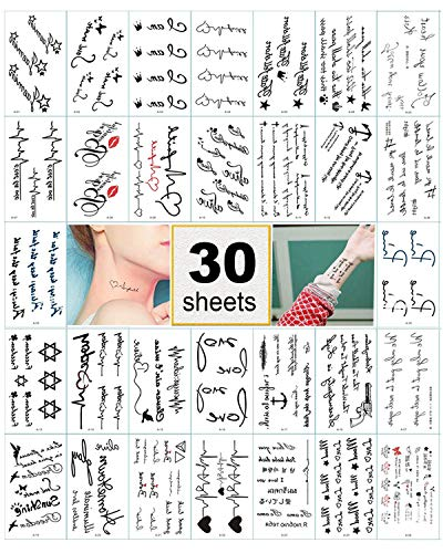 Black Temporary Tattoo Stickers for Women, Kids, Men, Girls – 100+ Different Transfer Stickers, Fake Tattoos Waterproof, Hand Tattoo Stickers with Star, Heart, Chinese ()