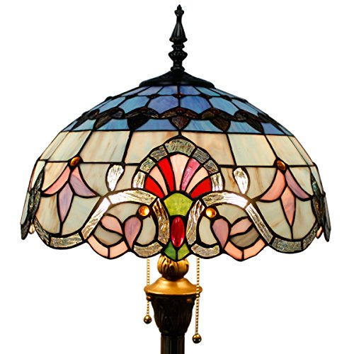 WERFACTORY Tiffany Baroque Style Floor Standing Lamp 64 inch Tall Pink Blue Stained Glass Shade 2 Light Pull Chain
